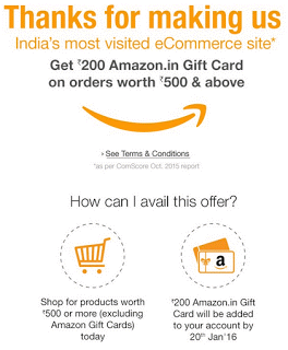 [*LOOT*] AMAZON.IN TRICK - 300 Rs. GV ON ORDERS OF 500+ Rs. - DEC'15