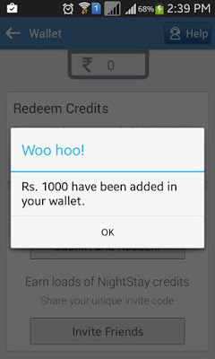 [*BOOM*] NIGHTSTAY APP- GET Rs.1000 FREE ON SIGNUP + REFER N EARN ONE PLUS 2 -NOV'15