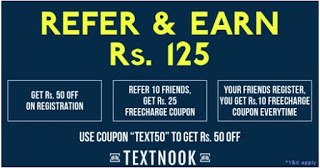 {*BIG LOOT*}TextNook-Get 25 Rs Freecharge voucher instantly