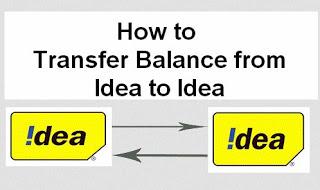 Idea to Idea Balance Transfer code working 2016