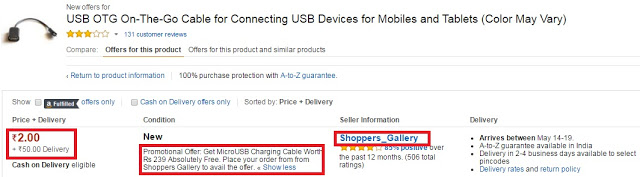 [PROOF ADDED] USB OTG + MICRO USB CHARGING CABLE BY AMAZON HIKE LOOT AT RS.2 MAY'16