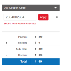 (Maha Loot) ShopCJ-Flat Rs.300 Off On Rs.301(On EveryThing)
