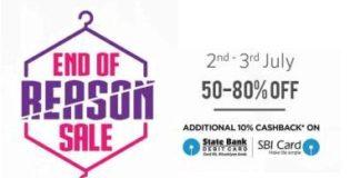 {*MEGA OFFER*} Myntra End Of Reason Sale : Flat Upto 80% off + Extra 10% Cashback