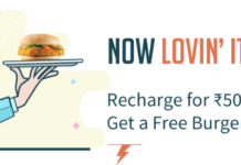 Freecharge Loot- Recharge with 50 And Get Free McDonald's Burger