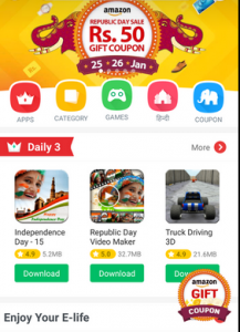Download 9apps and Get Instantly Free Rs 50 Amazon Gift Vouchers