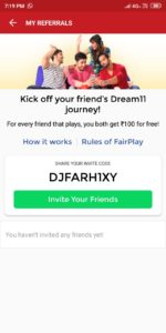 Dream11 Referral Code - Get Free ₹100/Signup + ₹100/Refer | Proof