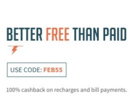 (Free) Freecharge FEB55-Free Upto Rs.55 Recharge(100% Cashback)