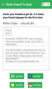{*NEW*} Adractive App : Refer And Earn Free Recharge/Bank Cash (Rs.5/Refer)