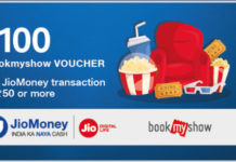 [Loot] Get Free Rs.100 BookMyShow Voucher From JioMoney Transaction