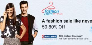 Flipkart Fashion Days- Loot Deals 80% Off + 20% Cashback With PhonePe