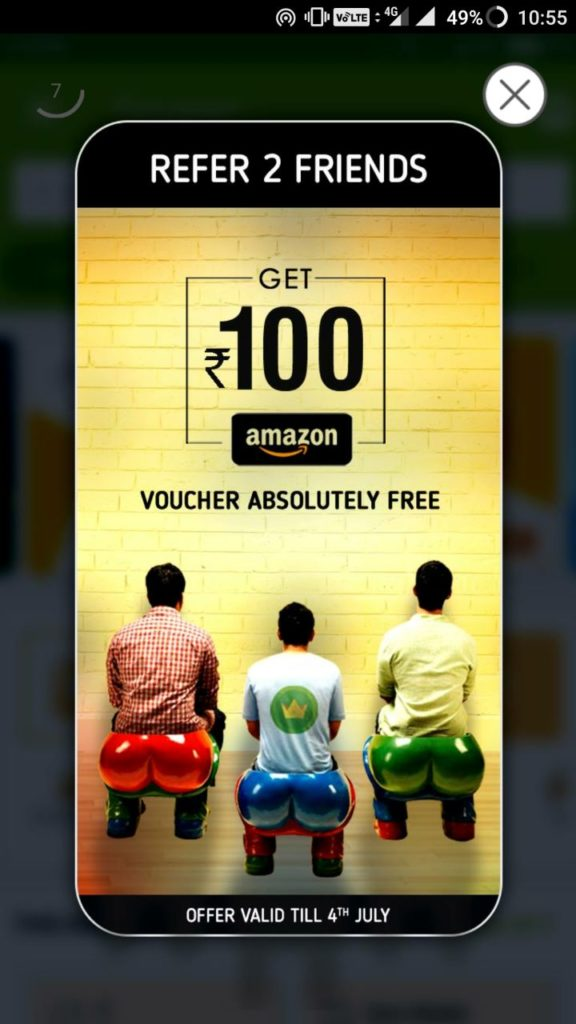 [Proof Added]Crownit App Loot- Refer 2 Friends & Get Rs.100 Amazon Voucher