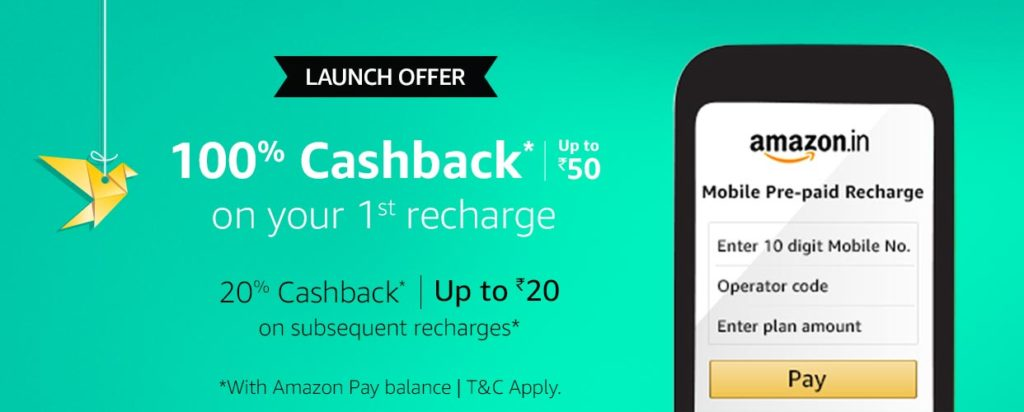 Boom) Amazon Mobile Recharge Started -Get Free Rs 50 Recharge