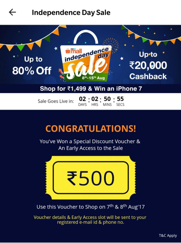 Install/Update PayTM Mall App & Get Free Rs.500 Shopping Voucher