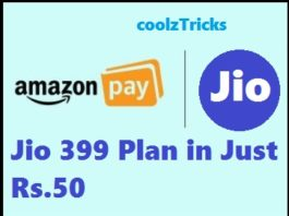 (Big) Amazon Jio Loot-Jio Rs.399 Recharge in Just Rs.50