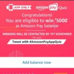 (All Answers) Amazon Pay Quiz - Answer & Win Rs 5000