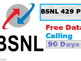 BSNL 429 Plan -Unlimited 4G Net+Free Calling For 90 Days