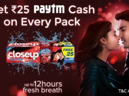 PayTM Closeup Offer - Get Free Rs.25 PayTM Cash On Each Pack