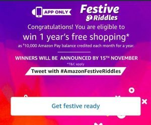(All Answers) Amazon Festive Riddles Quiz-Answer & Win Rs 1.2 Lakh