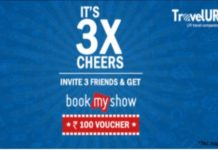 (Proof Added) TravelUR-Refer 3 friends and get Rs.100 BookMyShow Voucher