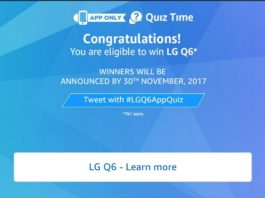 Amazon Quiz Time - Answer and win LG Q6
