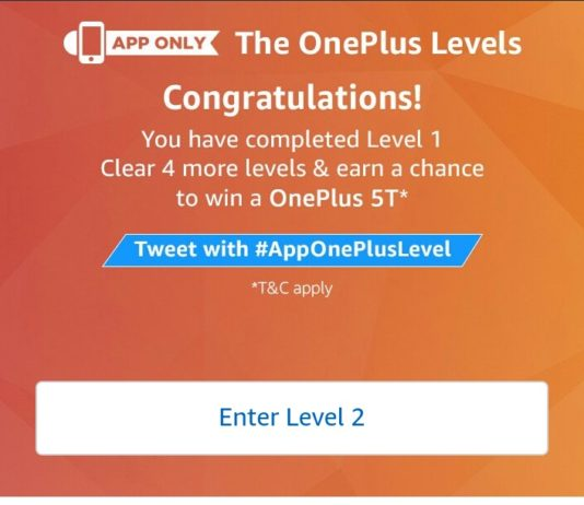 Amazon One Plus Levels Contest - Answer & win One Plus 5T