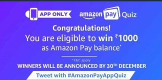 (All Answers) Amazon Pay Quiz-Answer & Win Rs.1000 Amazon Pay Balance