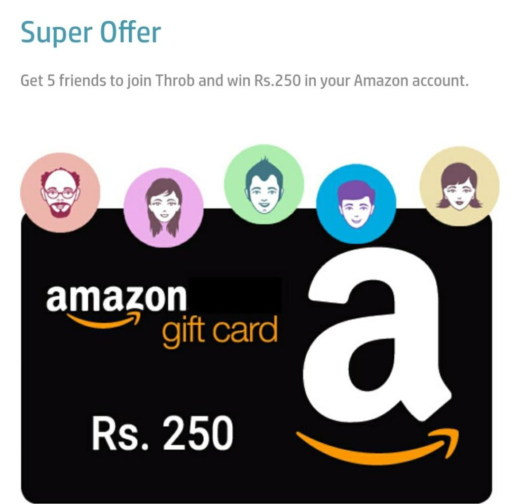 (Proof Added) Throbsocial - Refer 5 Friends & Get Rs.250 Amazon Voucher