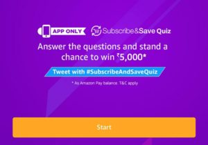 (All Answers)Amazon Subscribe & Save Quiz-Answer & win Rs.5000