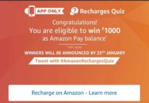 (All Answers)Amazon Recharges Quiz-Win Rs.1000 amazon Pay balance