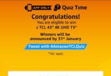(All Answers) Amazon TCL Quiz-Answer & Win TCL 43″ 4K UHD TV