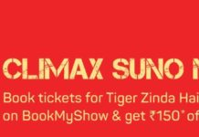 Tiger Zinda Hai Movie Ticket Offer-Flat 50%+50% Off On Bookmyshow.