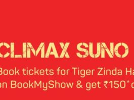 Tiger Zinda Hai Movie Ticket Offer-Flat 50%+50% Off On Bookmyshow.