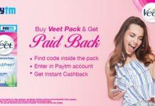 Paytm Veet Offer- Free Rs.40 PayTM Cash On Veet Hair Removal Pack