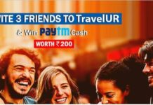 (Maha Loot) TravelUR-Refer 3 friends and get Rs.200 PayTM Cash