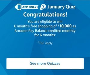 (All Answers)Amazon January Quiz- Win 6 Months Free Shopping