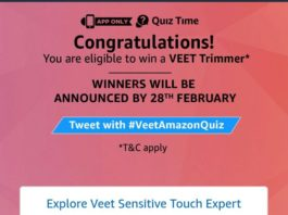 (All Answers) Amazon Veet Trimmer Quiz - Answer & win Veet Trimmer