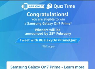 Amazon Samsung Galaxy On7 Prime Quiz - Answer & win Samsung Galaxy On7 Prime Quiz