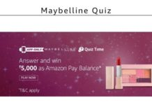 Amazon Maybelline Quiz - Answer & Win Rs.5000