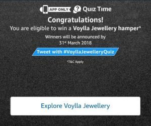 (All Answers)Amazon Voylla Quiz-Win Voylla Jewellery Hamper