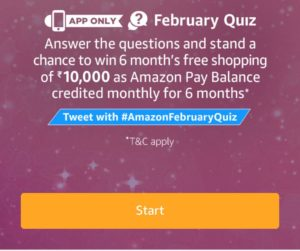 Amazon February Quiz - Answer & win 6 months Free Shopping