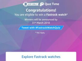 Amazon Quiz Time - Answer & win Fastrack watch