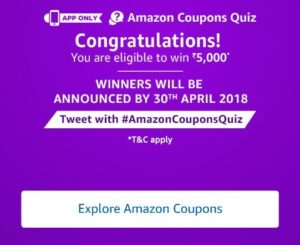 (All Answers)Amazon Coupon Quiz – Answer & Win Rs.5000