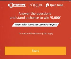 All Answers) Amazon L'oreal Paris Quiz -Win Rs 5000 Amazon Pay