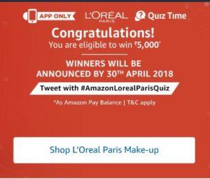 Amazon L'oreal Quiz - Answer & win Rs 5000 Amazon Pay balance