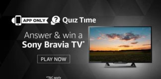 Amazon SONY TV Quiz- Answer Win Free SONY BRAVIA TV
