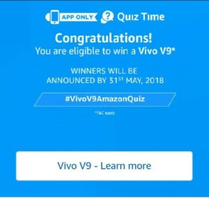 All Answers) Amazon Vivo V9 Quiz - Win Vivo V9 Smartphone