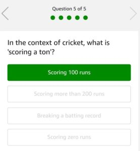(All Answers) Amazon Cricket Quiz-Answer & Win Rs.20,000 (20th May)