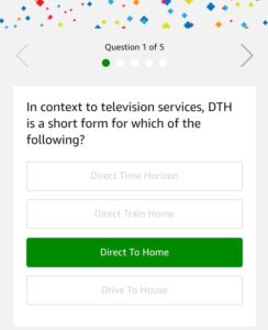 Amazon DTH Recharges Quiz - Answer & win Rs 5000