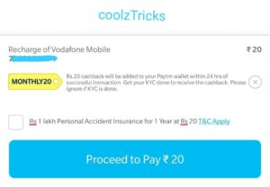 (Loot) PayTM MONTHLY20- Get Free Rs.20 Recharge Every Month