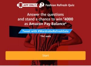 All Answers) Amazon Fashion Refresh Quiz-Win Rs 4000